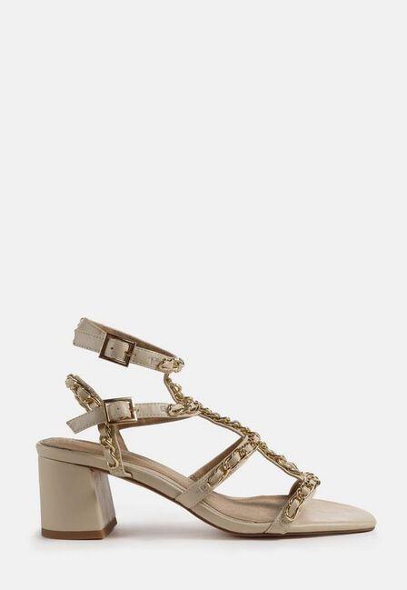 Missguided - Cream Chain Gladiator Block Heel Sandals