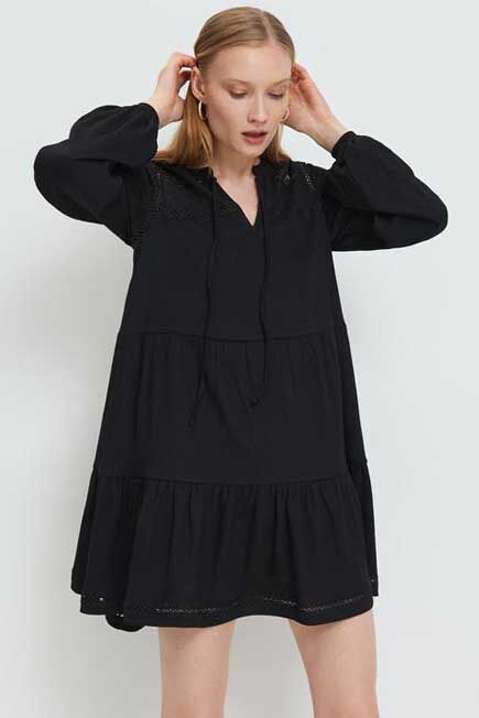 Mohito -  Openwork Dress With Puff Sleeves - Black