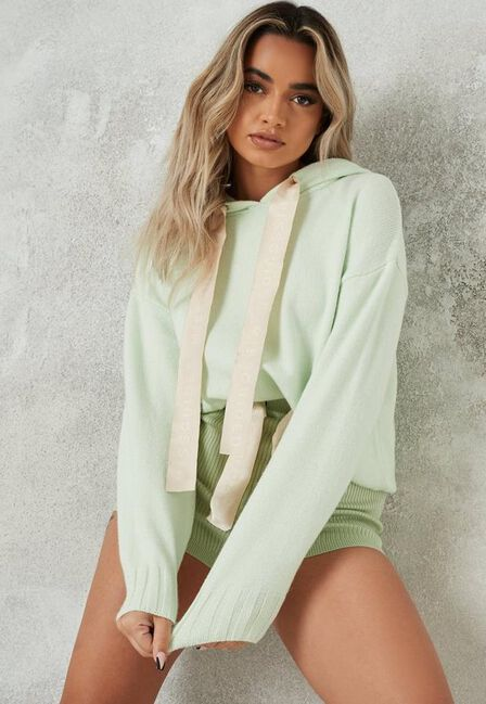 Missguided - Mint Missguided Ribbon Knit Boxy Hoodie