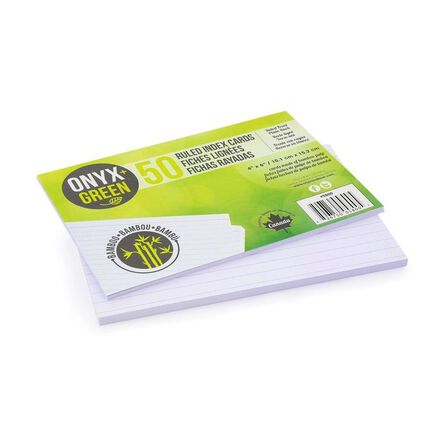 ONYX + GREEN - Onyx & Green Index Cards RuLED Made From Bamboo Paper Eco Friendly 4 x 6 Inches [Pack of 50]