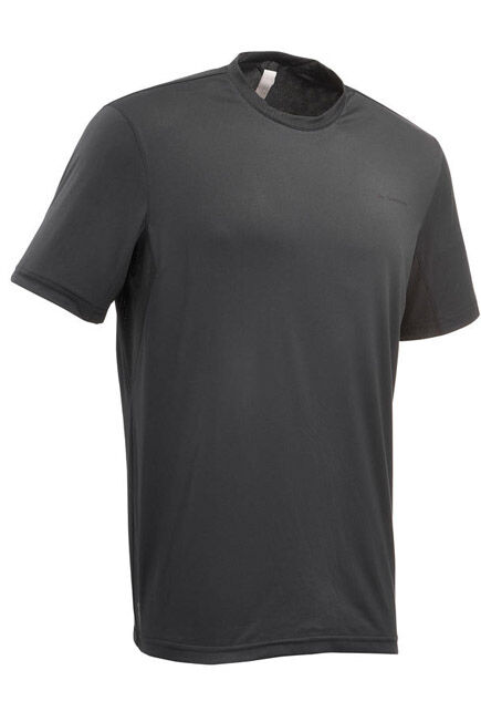 QUECHUA - Mh100 men's short sleeve mountain hiking t-shirt - dark grey, M