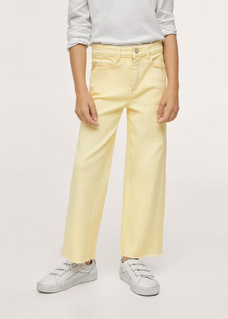 Mango - Yellow Frayed Hem Culotte Jeans, Kids Girl