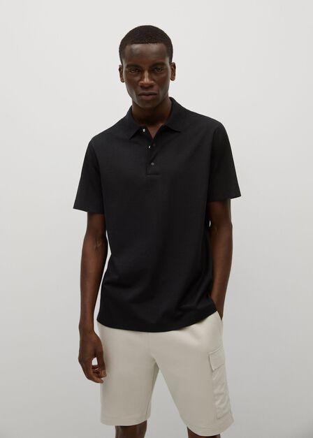 Mango - black Technical cotton piqué polo shirt, Men