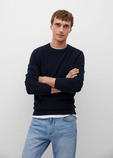 Mango - navy Structured cotton sweater