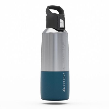 QUECHUA - Unique Size  Insulated Stainless Steel Hiking Flask MH500 0.8L, Dark Petrol Blue