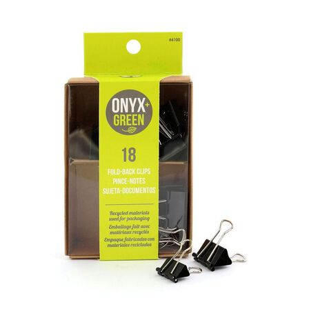 ONYX + GREEN - Onyx & Green Binder Clips 1 and 3/4 Inches [Pack of 18]