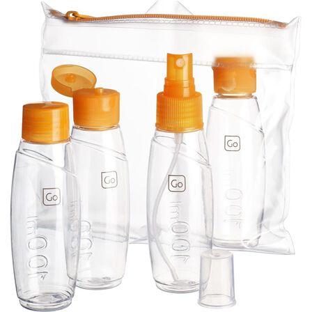 DESIGN GO - 100 ml Set Of 4 - Approved Trekking Travel Bottles