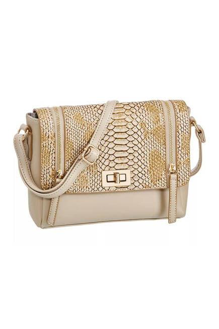 Graceland - Beige With Animal Print Pattern Shoulder Bag, Women