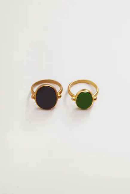 Mango - Gold Resin Ring Set, Women