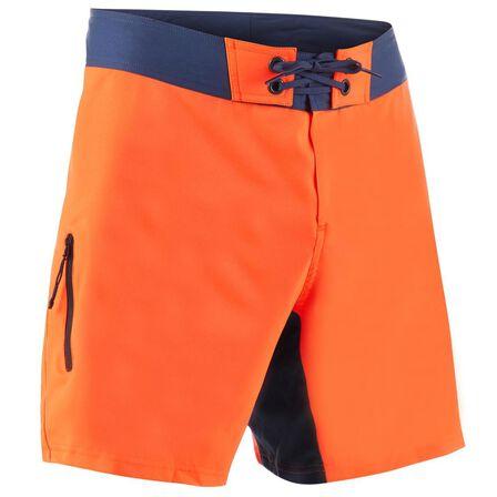 OLAIAN - 2XL  Surfing Short Boardshorts 500 - Summer, Fluo Blood Orange