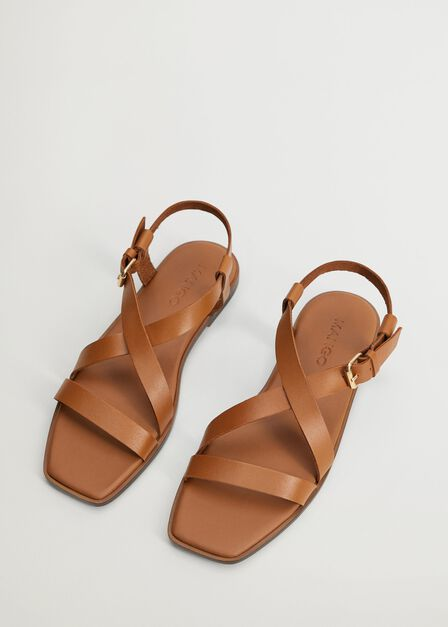 Mango - medium brown Leather straps sandals