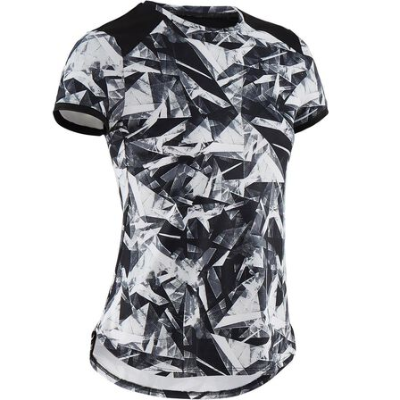 DOMYOS - 8-9Y  Girls' Breathable Synthetic Short-Sleeved Gym T-Shirt S500 - Black Print, Black