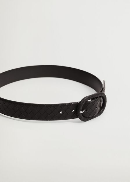 Mango - black Braided buckle belt, Women
