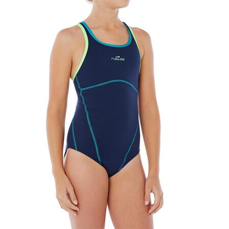 NABAIJI - 10-11Y  Kamiye chlorine-resistant girls' swimsuit, Navy Blue