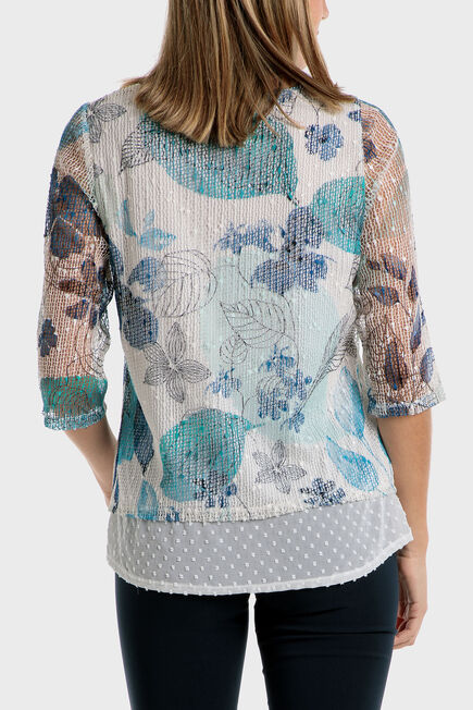 Punt Roma - Printed loose fitting mesh blouse