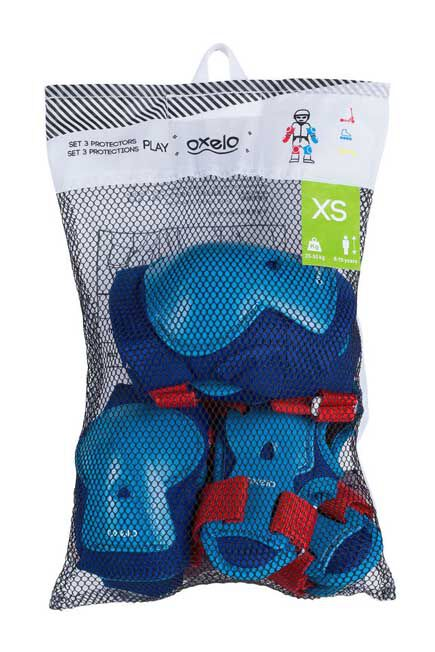 OXELO - Play Kids' Inline Skateboarding and Scootering Protectors Set of 3 - Blue/Red, XS