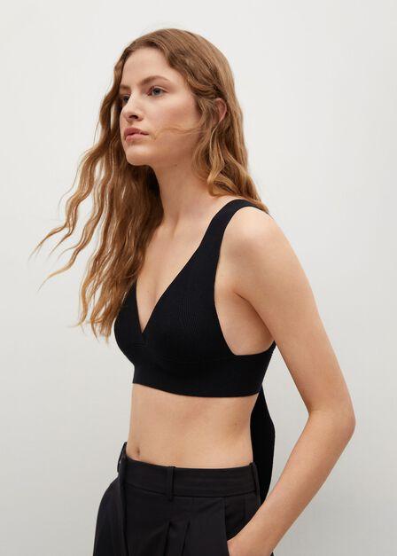 Mango - black Bow knit top, Women