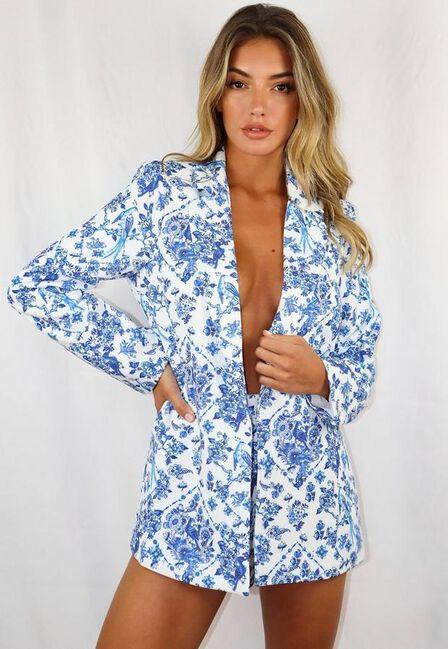 Missguided - Blue Blue Porcelain Print Co Ord Boyfriend Blazer