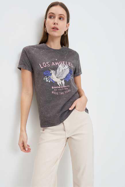 Mohito -  Printed T-Shirt - Grey
