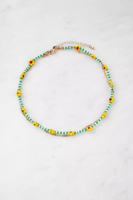 Urban Outfitters - Gold Floral Bead And Chain Multilayer Necklace, Women
