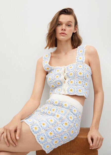 Mango - lt-pastel blue Handmade daisy-print crochet top, Women