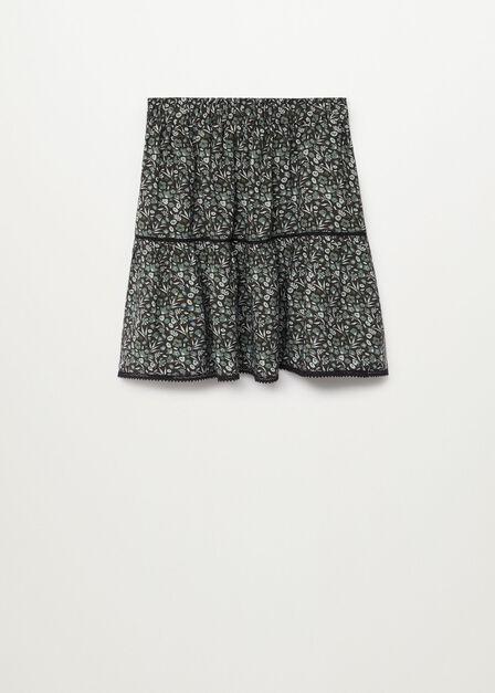 Mango - black Floral print skirt