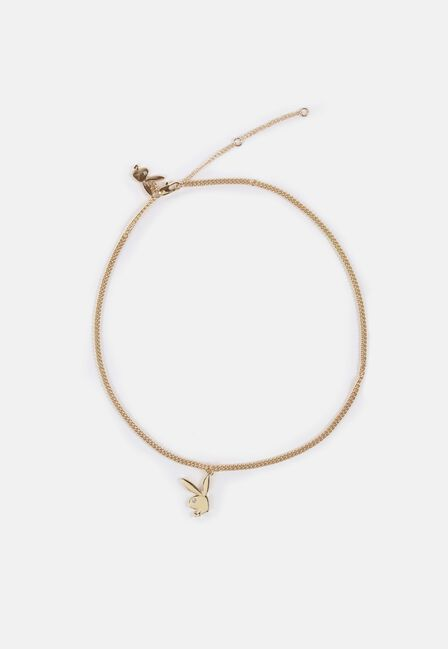 Missguided - Gold Playboy X Missguided Look Bunny Pendant Necklace