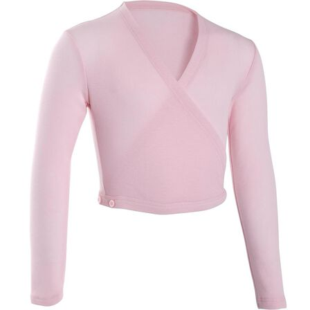 DOMYOS - 14-15 Years  Girls' Ballet Wrap-Over Top, Candyfloss