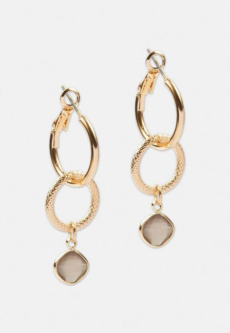Missguided - Gold Gold Look Grey Double Link Drop Earrings
