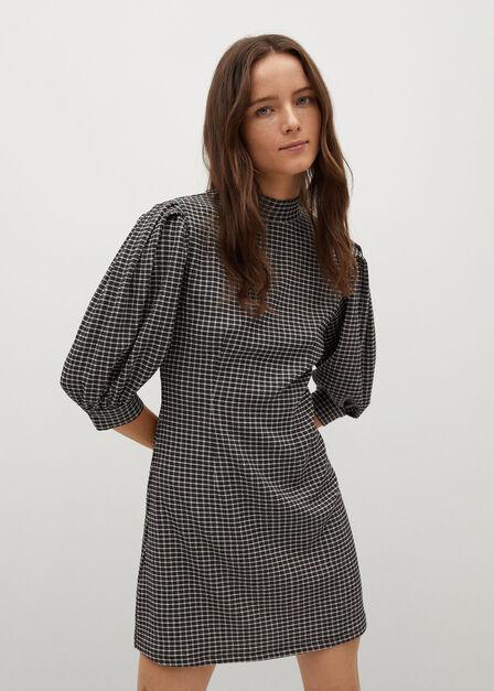 Mango - brown Puffed sleeves texture dress