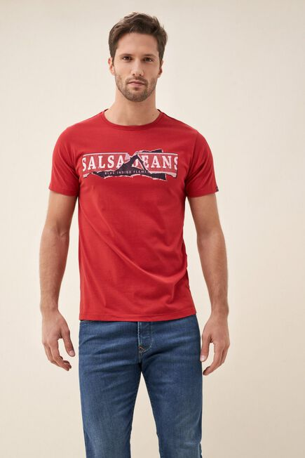 Salsa Jeans - Red Textured t-shirt with logo print