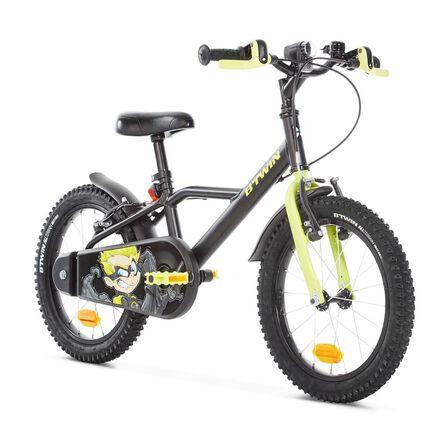 """BTWIN - 16"""" kids' Bike Dark Hero 500 (4.5-6Y) - Black"""
