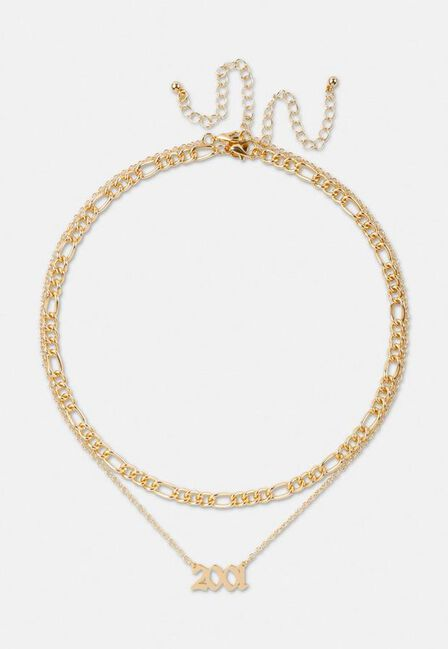 Missguided - Gold Gold Look 2001 Gothic Year Necklaces 2 Pack