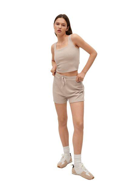 Mango - Lt-Pastel Brown Ribbed Knit Top, Women