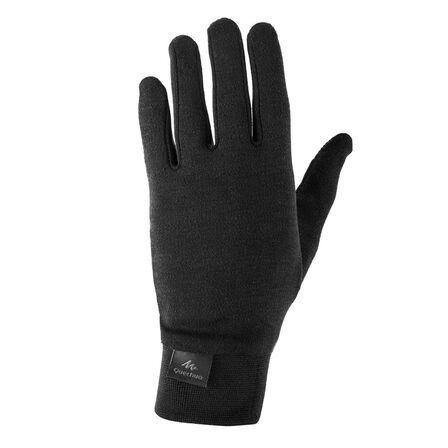 QUECHUA - 14-15 Years  Kids' Hiking Touchscreen-Compatible Silk Under-Gloves SH500, Black