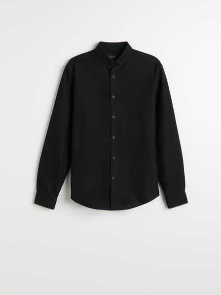 Reserved - Black Structured Cotton Shirt, Men