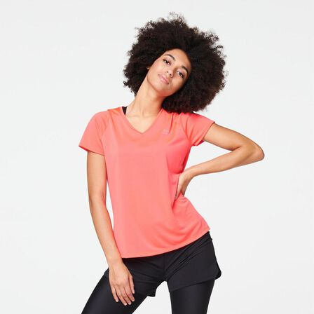 KALENJI - Large  RUN DRY WOMEN'S RUNNING T-SHIRT, Fluo Coral Pink