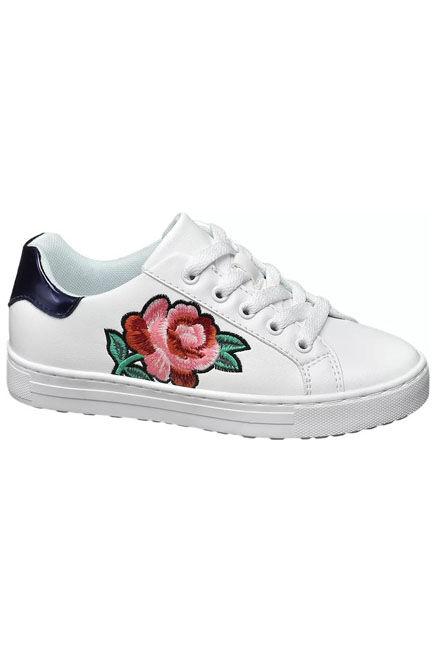 Graceland - White Sneakers | Flower Print Detail, Kids Girl