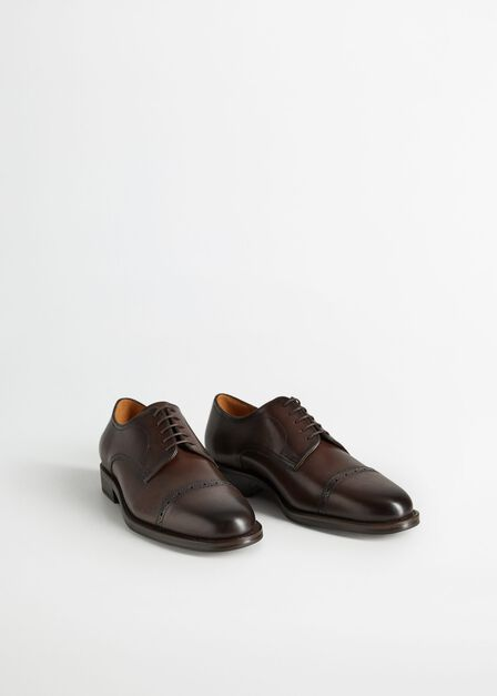 Mango - Brown Laser-cut leather blucher shoes