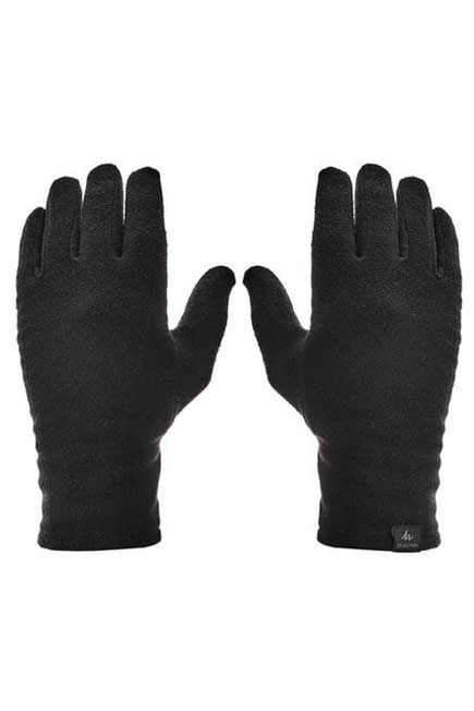 QUECHUA - M/L  Adult Mountain Trekking Recycled Polyester Liner Gloves - TREK 100 Black, Black