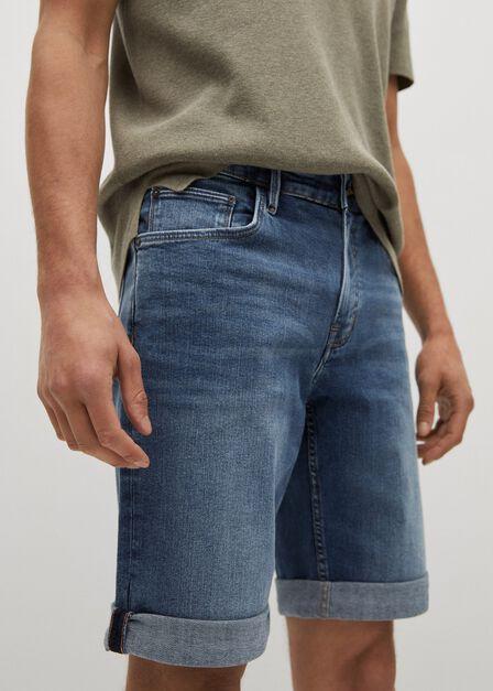 Mango - open blue Dark wash denim Bermuda shorts, Men
