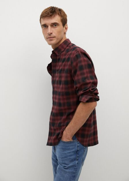 Mango - dark red Regular fit checked flannel shirt