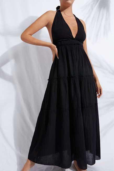 Calzedonia - Black Long Fabric Dress With Drawstring, Women - One-Size