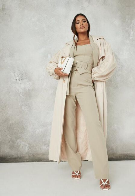 Missguided - Mint Sage Co Ord Tailored Belted Straight Leg Trousers