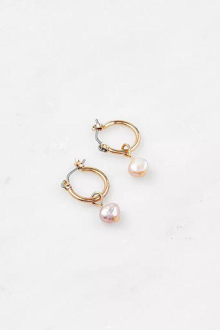 Urban Outfitters - Pink Gold-Tone Pearl Dangling Hoop Earrings