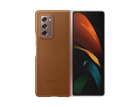 SAMSUNG - Samsung Leather Cover Brown for Galaxy Z Fold2