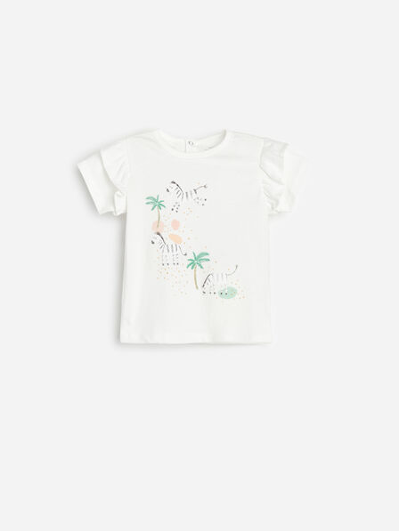 Reserved - Ivory Cotton T-Shirt With Appliqué, Kids Girl