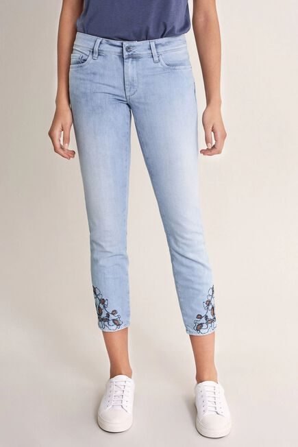 Salsa Jeans - Blue Push Up Wonder cropped jeans with embroidered hem