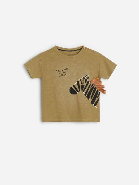 Reserved - Khaki Cotton T-Shirt With Appliqué, Kids Boy