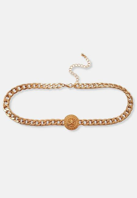 Missguided - Gold Look Lion Coin Disc Necklace